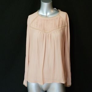 💎FOREVER 21 DUSTY ROSE SILK FEEL LACE BLOUSE